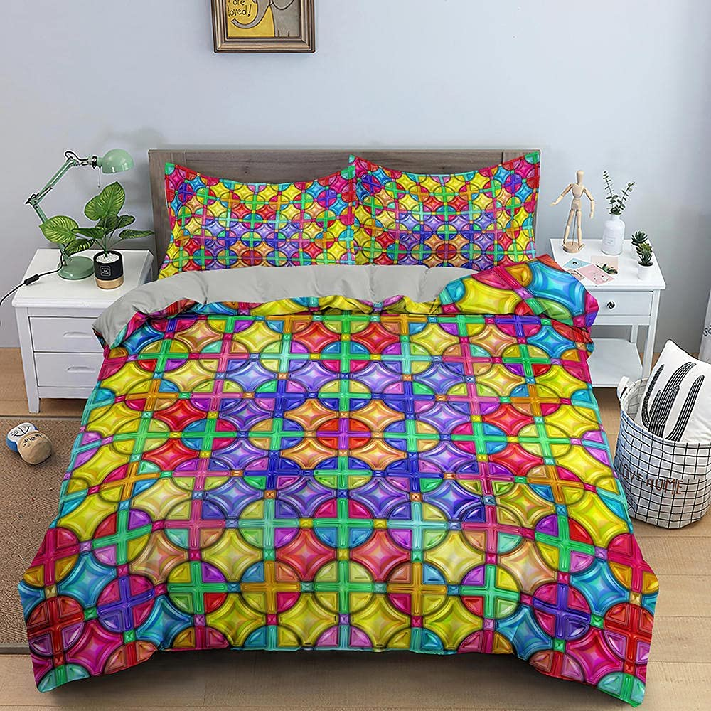 Dazzle Geometric Bedding Set Modern High order Duvet Pattern Free Shipping Cheap Bargain Gift Cover Colorful