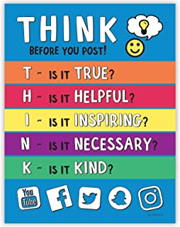 Think Before You Post Poster - Bullying Posters for Schools - Anti Bullying Posters - Kindness Poster for Classroom - Feelings Poster for Kids - Classroom Poster for Middle School - 17 x 22 Inches
