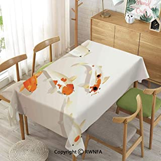 Homenon Wipe Clean Tablecloth for Rectangle Tables,Traditional Asian Spotty Koi Carps Oriental Sign of Love ,Spillproof Modern Printed,Orange Beige,55