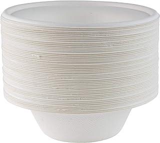 Signature Packaging Tazones de papel blanco súper rígidos - Tazones de bagazo desechables extra fuertes - biodegradables y compostables - Platos para servir no plásticos - 8 oz, paquete de 50