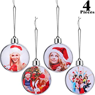 4 Pieces Christmas Tree Ornament Xmas Photo Ball Decoration Plastic Picture Ornament for Photo Candy Craft