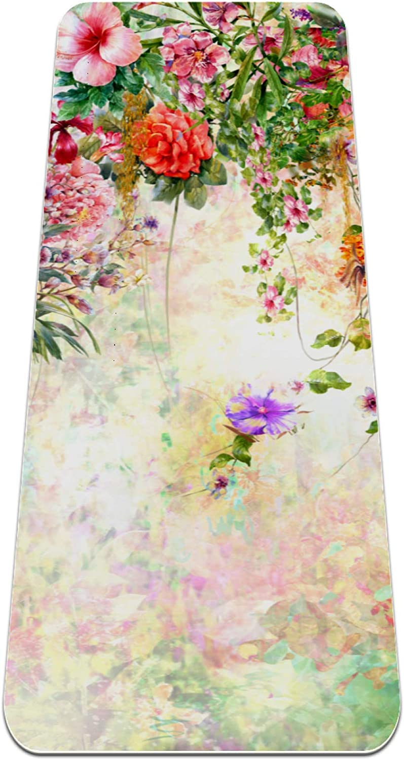 Cheap mail order specialty store Colorful Flowers Watercolor Yoga Mat Non Slip Exercise Thick F Mail order cheap