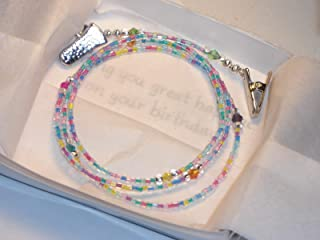 Beaded Eyeglass Chain Holder Confetti Mixed Pastel Glass Beads 28 inches with Padded Clips