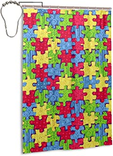 BB-SS Autism Awareness Love Puzzles Background Bathroom Shower Curtain Set with Stainless Steel Grommet Holes + Hooks Waterproof Decorate 48 X 72 in