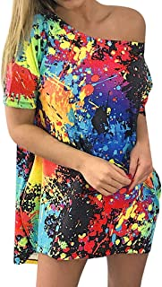 MURTIAL Fashion T-Shirt Short Sleeve Skew Collar Tie Dyeing Printed Casual Long Blouse