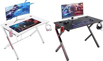 "Mr IRONSTONE Gaming Desk 45.2"" W x 23.6"" D Home Office Desk & White Gaming Desk 45.3"" Computer Desk"