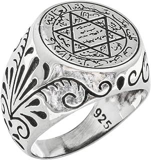 Anillo de plata de ley 925 con diseño especial del talismán de Salomón, hecho a mano