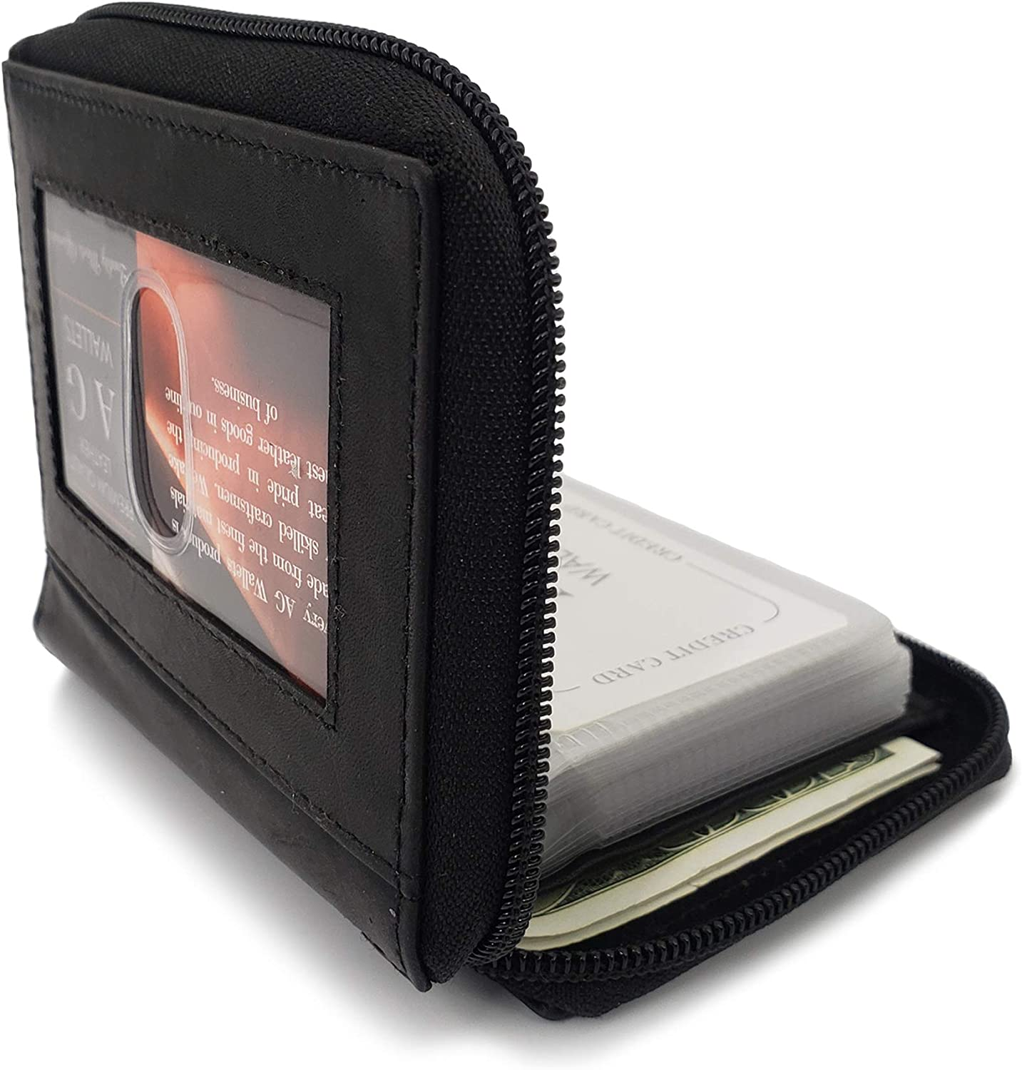 AG Wallets Mens Zip Around Leather Wallet with Inserts (Black)