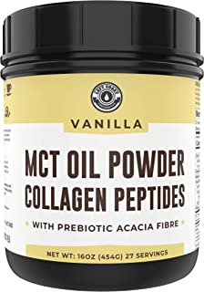 Keto MCT Powder + Collagen + Prebiotic Acacia Fibre, Vanilla, 16oz | MCT Creamer, Pure MCT Oil Powder from Coconuts. MCT Collagen Powder, Grass Fed Collagen, Perfect for Keto Collagen, 1 Net Carb