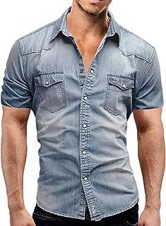 Jinyuan Camisa De Hombre De Moda Camisa De Mezclilla con BotóN Delgado para Hombre Casual Camisa De Manga Corta para Hombr...