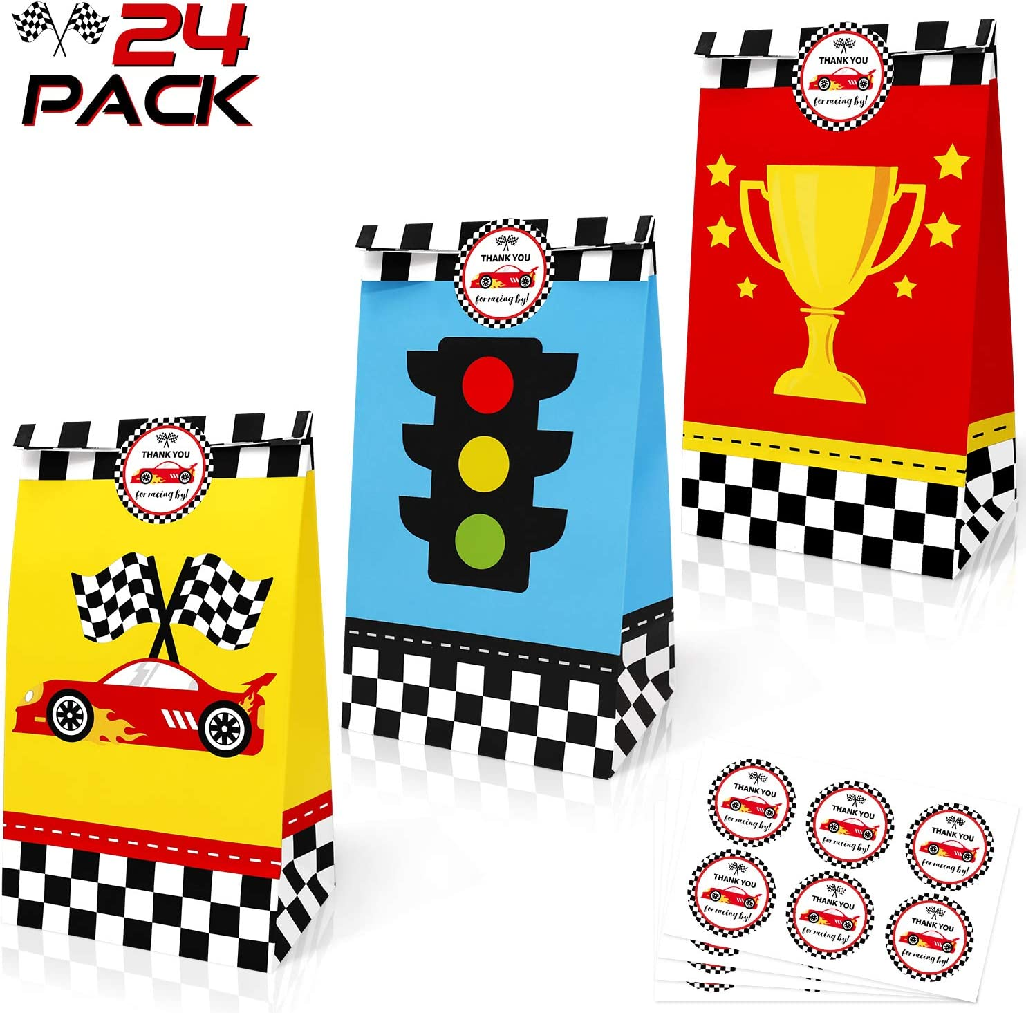 24 Pack Race Car Party Treat Bags with Thank You Stickers, Racing Pit Crew Goody Gift Bags for Let's Go Racing Party Supplies Two Fast Birthday Checkered Flags Party Decorations