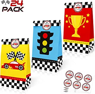 24 Pack Race Car Party Treat Bags with Thank You Stickers, Racing Pit Crew Goody Gift Bags for Let's Go Racing Party Suppl...