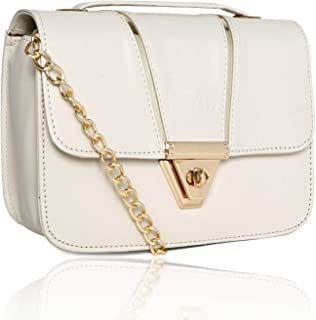 Nevis Stylish Sling Bag And Ladies Purse | Pu Synthetic Sling Bag With Golden Chain Stap For Girl
