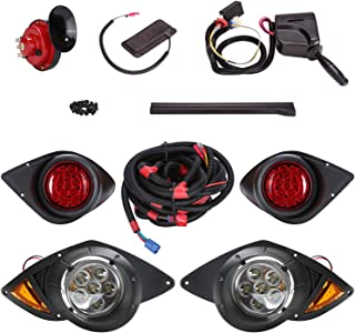 10L0L Golf Cart Universal Deluxe LED Headlights and Tail Light Kits for 2007-UP Yamaha G29 Gas or Electric Carts with Turn Signals Switch Horn Brake Lights Harness(Must Input 12 Volts)