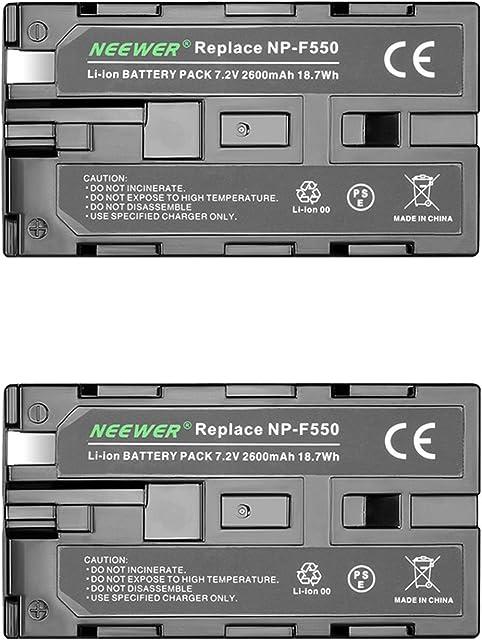 Neewer® - Batería de Repuesto para Sony HandyCams Neewer Nanguang CN-160 CN-216 CN-126 y Otras Luces LED de vídeo en cámara Que utilizan NP-F550 (2 Unidades) 2600 mAh Sony NP-F550/570/530