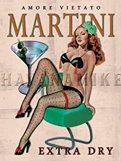 Amore Martini Extra Dry Vintage Style BAR Art Pinup Girl Poster Print - Measures 18