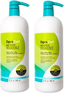 Devacurl No-Poo Decadence Milk Cleanser; Zero Lather; Curly Hair; Gentle; Sulfate; Paraben and Silicone Free; 32 Ounce- 2-...