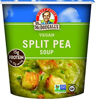 Dr. McDougall's Right Foods Vegan Split Pea Soup, 2.5 Ounce Cups (Pack of 6) Gluten-Free, Non-GMO, No Added Oil, Paper Cups From Certified Sustainably-Managed Forests