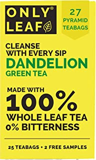 ONLYLEAF Dandelion Green Tea, Made with 100% Whole Leaf & Natural Dandelion Roots, 27 Pyramid Tea Bags (25 Tea Bags + 2 Fr...
