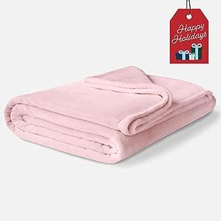 ViscoSoft Fleece Winter Blanket Twin Size   Soft & Plush, Lightweight Design   Blush Pink Throw Blanket