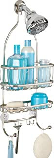 iDesign York Metal Wire Hanging Shower Caddy, Extra Wide Space for Shampoo, Conditioner, and Soap with Hooks for Razors, Towels, and More, 10