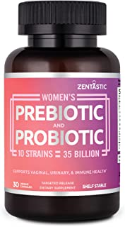 Zentastic Women's Probiotic & Prebiotic Supplement with Cranberry – 35 Billion CFU – Vaginal, Immune & Digestive Health – 10 Strains – Shelf Stable – 30 Delayed Release Veggie Capsules