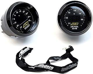 AEM 2 Gauge Display Set UEGO WideBand Air/Fuel Ratio Gauge + Boost Pressure Gauge -30-35psi + MAPerfomrance Lanyard