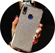 Glitter Frame TPU Phone Cases for Huawei P20 Lite Cover P10 P9 P8 Mate 10 Nova 2 3 Honor 9 7X 8X Y6 Prime Y9 2018 Silicone Case,Glitter Silver,for Huawei P10 Lite