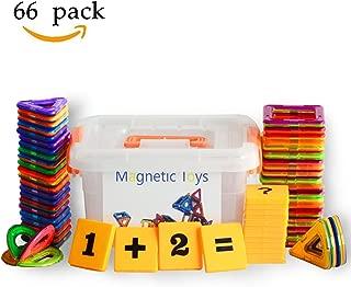 幾何学認知 磁石ペース66モデルDIY 子どもおもちゃ 積み木 四角、三角、 半円 、扇形 - 創意プレゼント想像力を育てる知育玩具 収納ケース付き