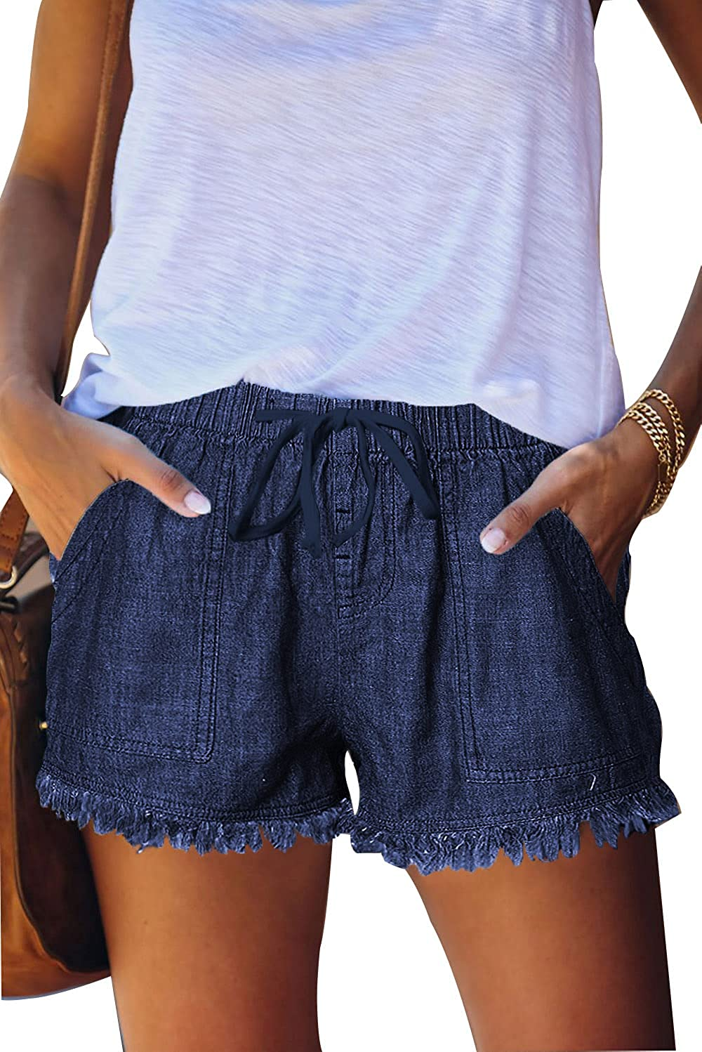 KINGFEN Comfy Drawstring Casual Elastic Waist Shorts for Women Summer Beach Cotton Pull On Short with Pockets