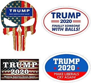 4Pcs Donald Trump for President Car Sticker Bumper Sticker Decal Make America Great Again/Make Liberals Cry Again/Punisher Trump