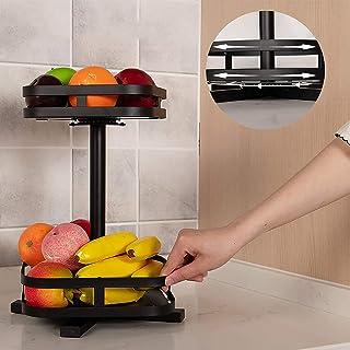 EUNEWR lazy susan plateau tournant 2/3 Tier Noir,360°plateau tournant rangement cuisine,support à épices rotatif de cuisin...