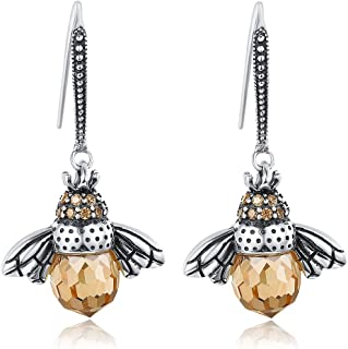 BAMOER 925 Sterling Silver Cute Bee Drop Earrings and Necklace Pendant Charm for Women Teen Girls Bee Jewelry Set
