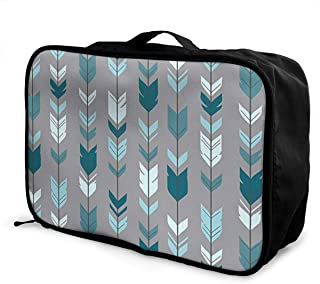 Arrow Feather- Teal Blue Grey Canvas Travel Weekender Bag,Fashion Custom Lightweight Large Capacity Portable Luggage Bag,Suitcase Trolley Bag
