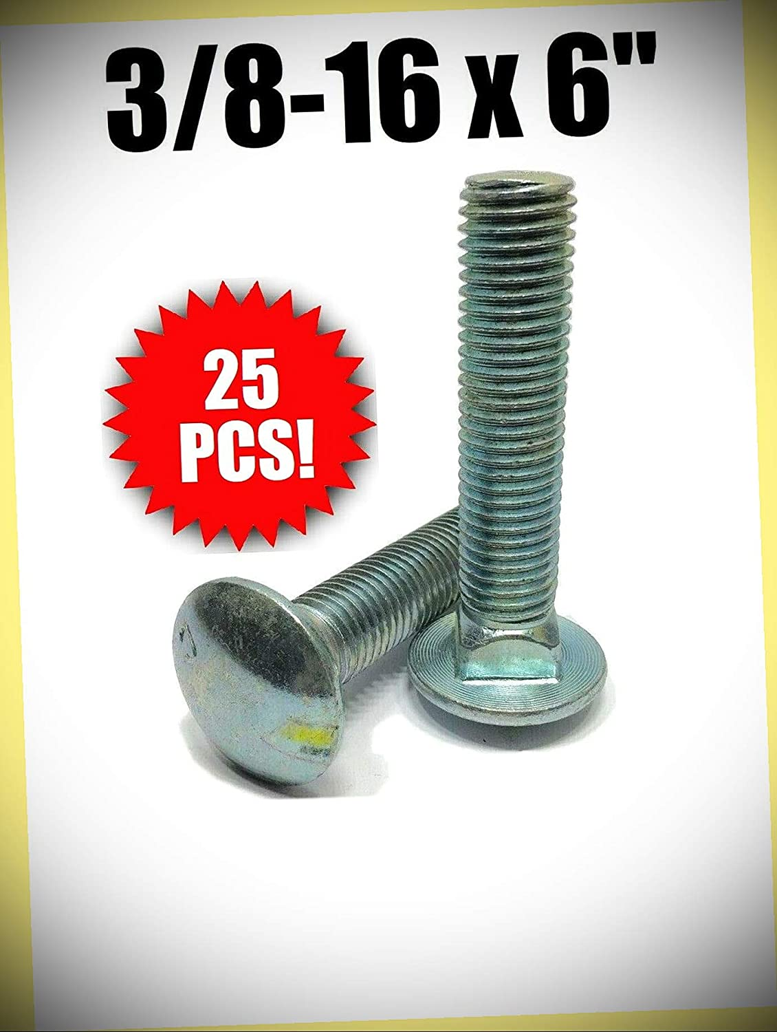 Package of 25 pcs 3 8-16 x F A307 Zinc Detroit Mall Plated Bolt Fees free!! Carriage 6
