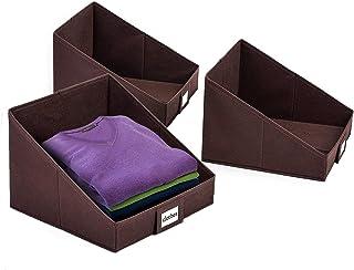 Amazon Brand – Umi Lot de 3 boîtes de Rangement Pliable, Étagère de Rangement pour Jouets Enfant et Livres avec Porte-étiq...