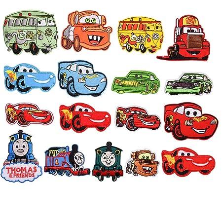 Mingjun - 17 parches para planchar o coser en autobuses, coches, camiones de fuego, coches, chaquetas, chaquetas, mochilas, bufandas