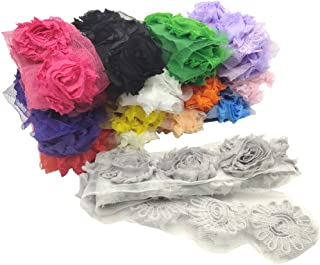 Arlai 196 Pieces Shabby Chic Flowers 2.5 Inch Chiffon Fabric, DIY RoseFrayed Trim Tulle Flower, 14 Colors(1 Color=1 yd=14 pcs Flower)