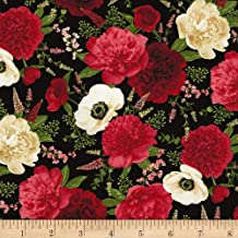 Timeless Treasures Carina Spaced Out Floral Fabric, Black, Fabric By The Yard