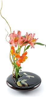 Georgetown Pottery Round Ikebana Flower Vase, Black Wave