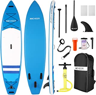 ANCHEER Inflatable Stand Up Paddle Board, Surfing SUP Boards,11' Double Layer Touring iSUP, Bottom Fin for Paddling & Surf...