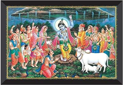 SAF Goverdhan Parvat UV Textured Synthetic Frame Painting SAFK136