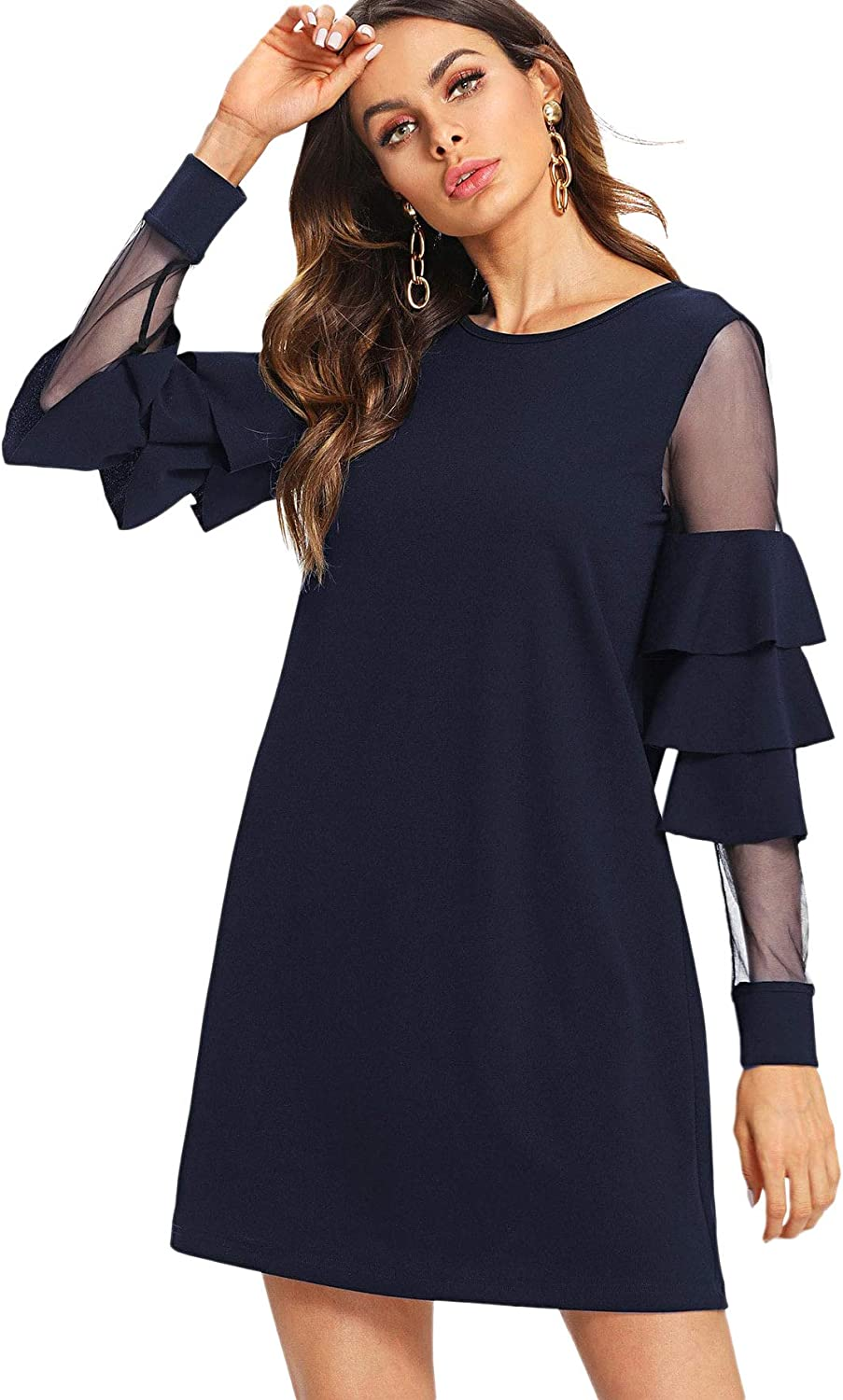 Milumia Women Mesh Long Sleeves Midi Little Black Dress Fit and Flare Scoop Neck Church Dresses