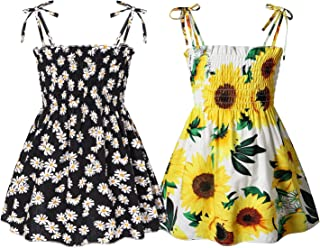 Toddler Baby Girl Summer Outfits Strap Dress Sleeveless Sundress Casual Sling Clothes Kids Clothing Set Beachwear
