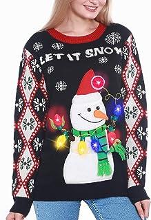 Camlinbo Light Up Women's Christmas Sweater, Snowman Santa Hat Ugly Sweater Knit Holiday Funny Sweatshirt