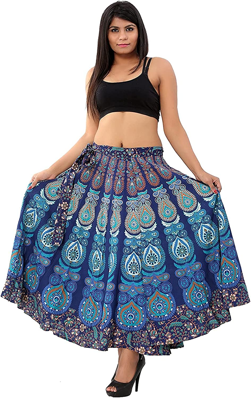 ROYAL CRAFT Indian Long Cotton Mandala Printed Skirt Cotton Beach Wear Blue