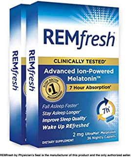 REMfresh 2mg Advanced Melatonin Sleep Aid Supplement, (72 Caplets) | Drug-Free, Sleep Aid to Support Restful, Natural Sleep | #1 Doctor Recommended | Pharmaceutical-Grade, Ultrapure Melatonin