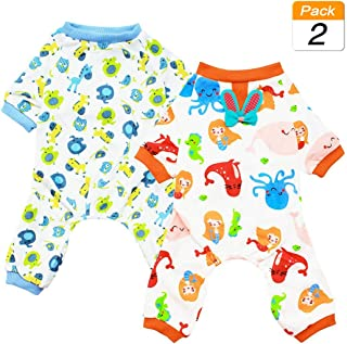 Scheppend 2-Pack Pet Clothes Puppy Cute Pajamas Dog Cotton Body Suit Cats Jumpsuits Cozy Apparel Dogs Pjs Small Canine Jammies
