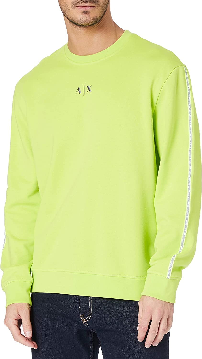 AX Armani Exchange Men's Neon Small Fixed Year-end annual account price for sale Pullover Taping Logo Sweatsh