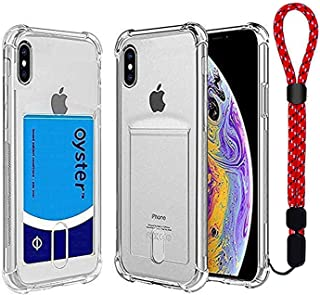 Calmpal iPhone X,iPhone Xs Clear Case with Card Holder Wireless Charger Compatible Protective Soft TPU Shock-Absorbing Bumper Case with Wrist Strap for iPhone X/iPhone Xs (5.8